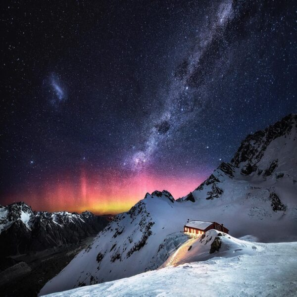 Aurora Australis above mountain hut in New Zealand
