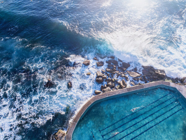 Aerial photo of Bronte Ocean pool