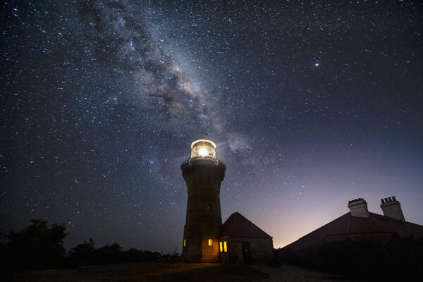 Milky Way over lighthouse