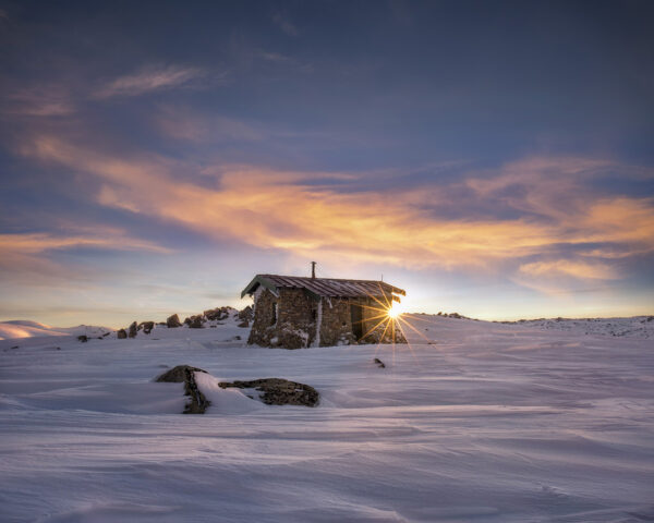 Sunrise at Seamans Hut in Kosciuscko National Park