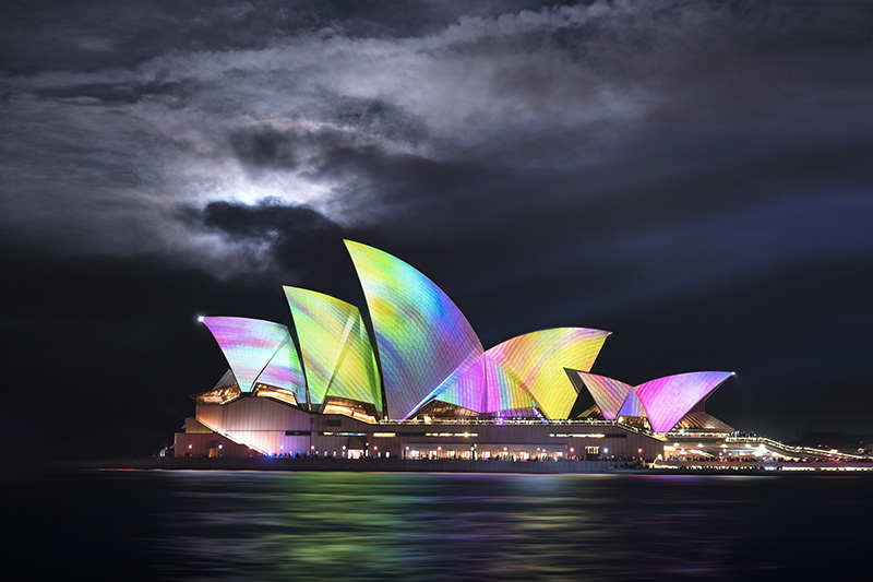 Sydney Opera House during the Vivid Sydney festival.