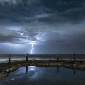 Lighting above ocean