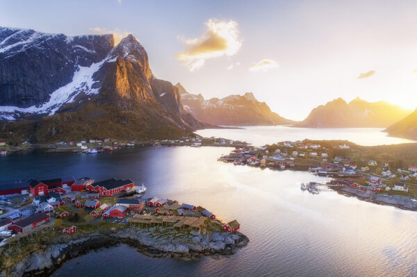 Midnight sun aerial over Reine in Norway
