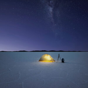 Camping on a giant salt lake