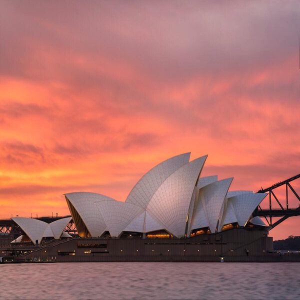 Colorful sunset over the Sydney Opera House