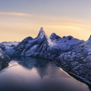 Aerial photo over norwegian mountains