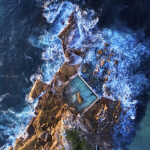 Aerial drone photo of Curl Curl ocean pool.