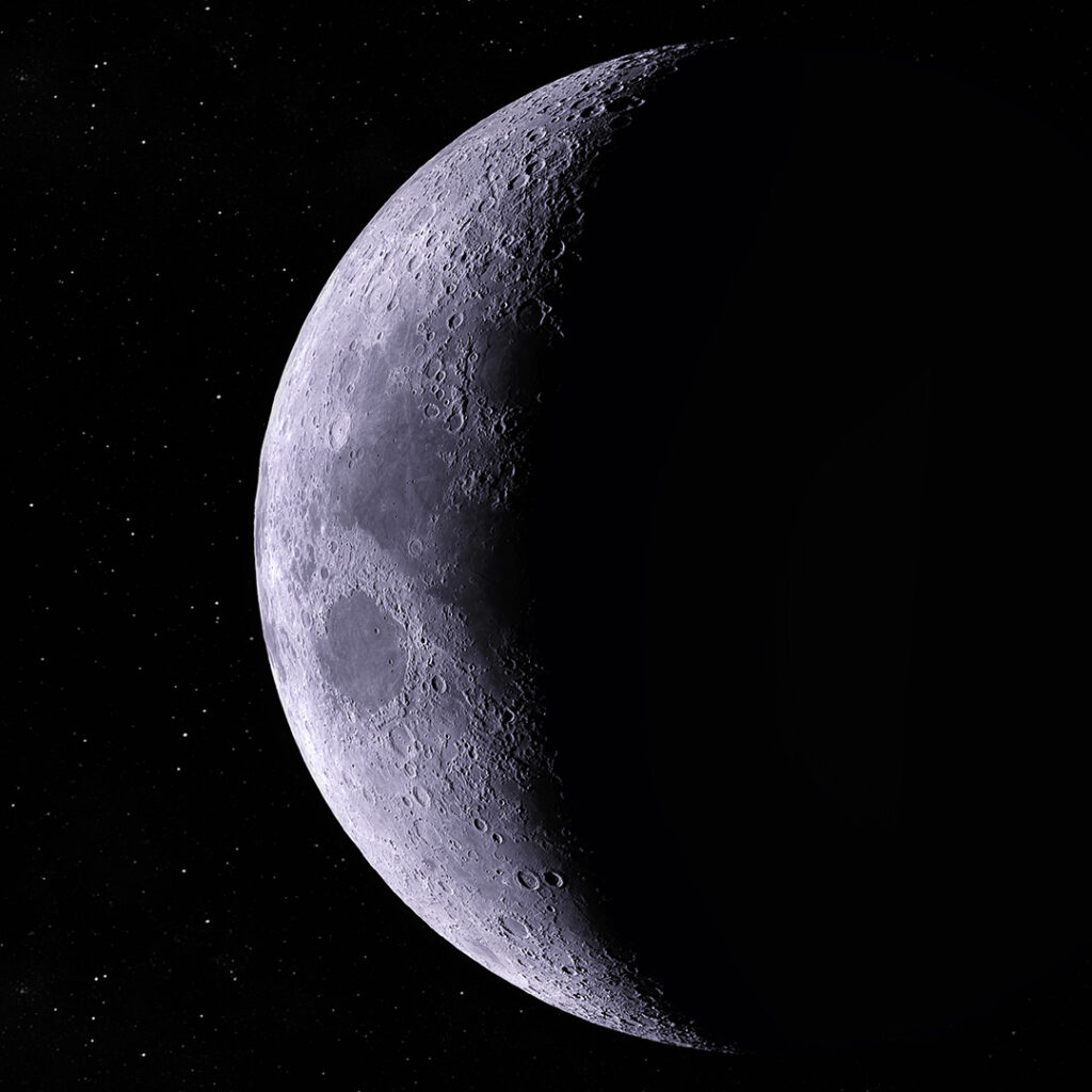 High-resolution photo of the crescent moon.